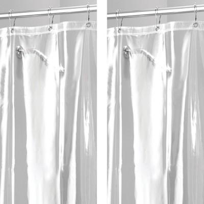 mdesign waterproof vinyl shower curtain liner 2 pack 72 x 72 clear
