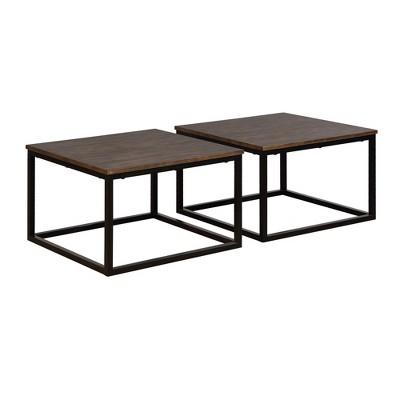 27 5 set of 2 arcadia acacia wood square coffee tables antiqued mocha alaterre furniture