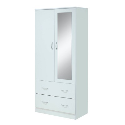 2 door armoire with 2 drawers and mirror white hodedah import