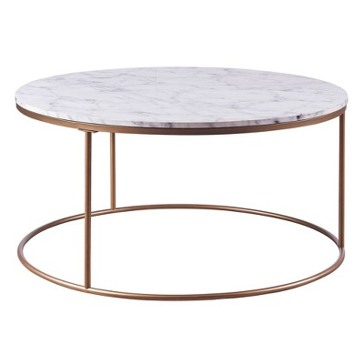 marmo round coffee table with faux marble brass versanora