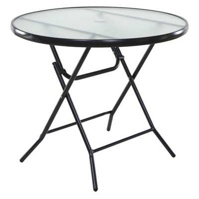 onespace 34 basics round folding patio table clear gray