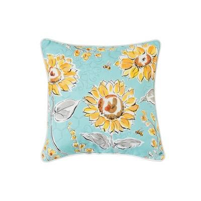 c f home 18 x 18 bee garden floral indoor outdoor decorative throw pillow