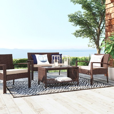target outdoor patio furniture sets 4pc All-Weather Wicker Patio Deep Seating Set - Brown