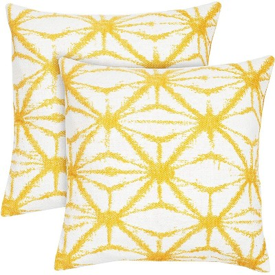 2 pack canvas pattern decorative throw pillow case cushion covers 18x18 inch pillowcase yellow
