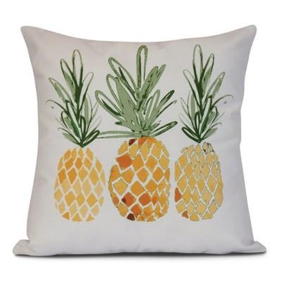 gold white pineapples print pillow throw pillow 16 x16 e by design