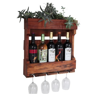 21 wall mounted wine rack with succulent planter western clear oil finish red cedar gronomics