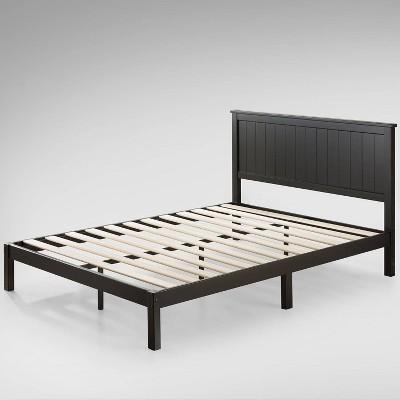 queen santiago wood platform bed with headboard black zinus