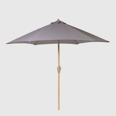 9 round patio umbrella duraseason fabric gray light wood pole threshold