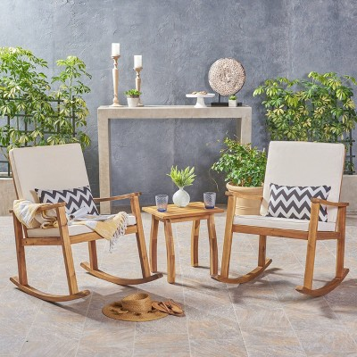 3pc candel acacia wood patio rocking chair and table set teak christopher knight home