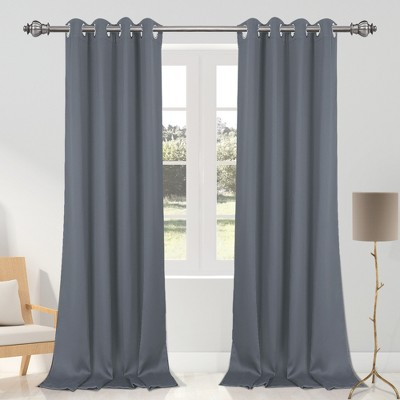 2 pcs 52 x 95 inch solid blockout thermal insulated grommet curtain panels gray piccocasa