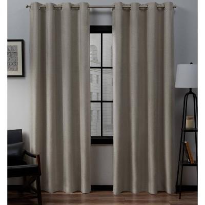 set of 2 84 x52 loha linen grommet top light filtering curtain panel beige exclusive home