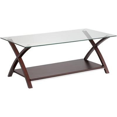 elm lane ashton espresso wood and glass top coffee table