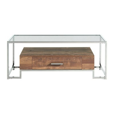 hampton rectangle storage coffee table light walnut chrome picket house furnishings