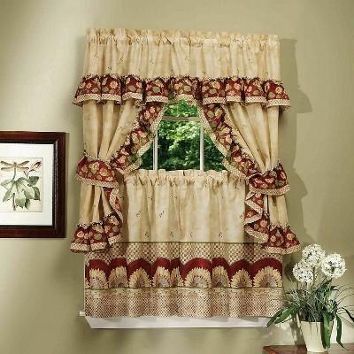 goodgram sunflower complete 5 piece cottage kitchen curtain set 58 in w x 24 in l