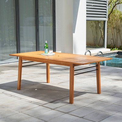 gloucester contemporary wood rectangle patio dining table vifah