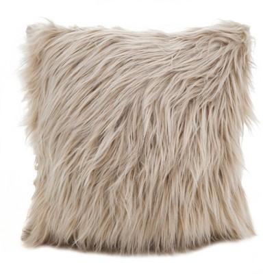 18 x18 poly filled long hair faux fur square throw pillow natural saro lifestyle
