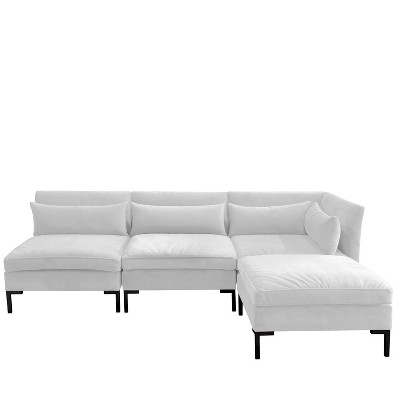 4pc alexis sectional with black metal y legs white velvet skyline furniture