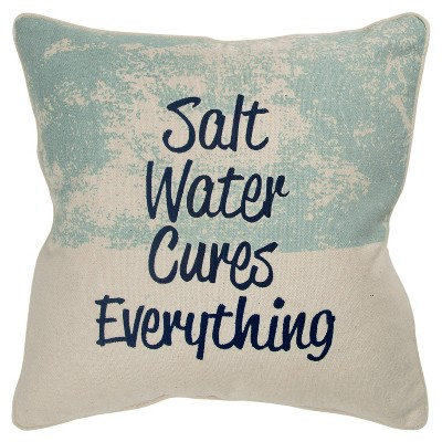 quote poly filled pillow aqua rizzy home