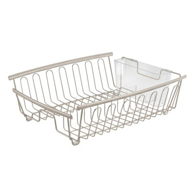 mdesign large kitchen sink dish drying rack 2 pieces satin clear