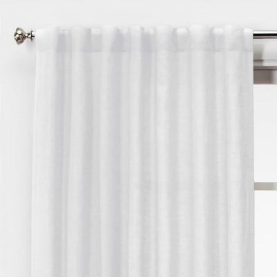 95 x54 light filtering linen window curtain panel white threshold