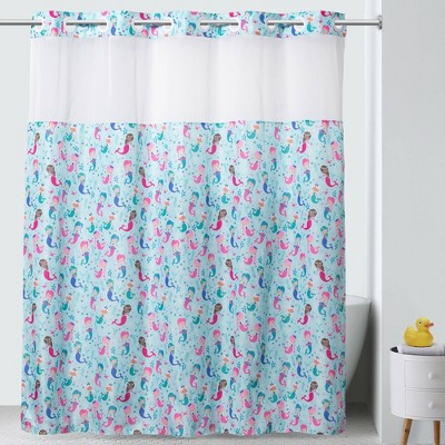 71 x74 mermaids shower curtain with pvc storage pocket liner blue hookless