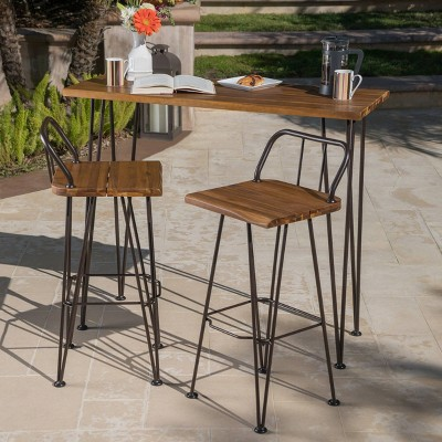denali 3pc acacia wood industrial patio bar set teak christopher knight home