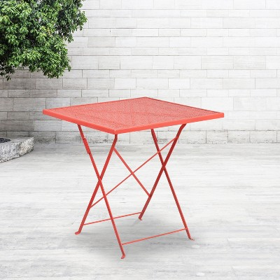 flash furniture commercial grade 28 square coral indoor outdoor steel folding patio table