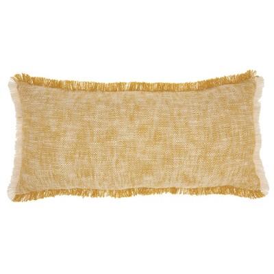14 x30 life styles woven fringe lumbar throw pillow mustard mina victory
