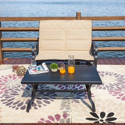 2pc iron patio glider bench seating set patio festival