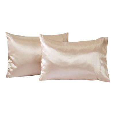 great bay home 2 pack microfiber satin weave pillowcases jumbo queen caramel