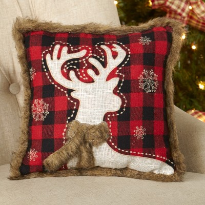 lakeside christmas pillow with faux fur red and black buffalo plaid reindeer