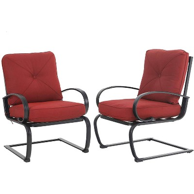 2pc metal patio spring chairs with cushions red captiva designs