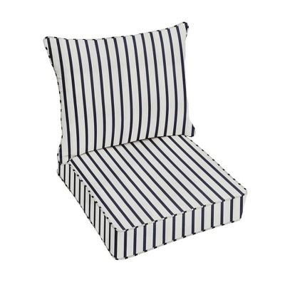 sunbrella stripe outdoor seat cushion blue white