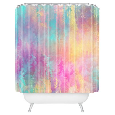 watercolor shower curtain pink deny designs