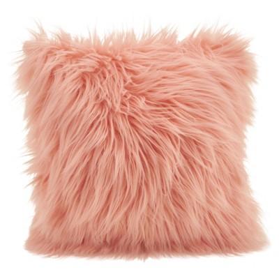 poly filled long hair faux fur throw pillow rose saro lifestyle