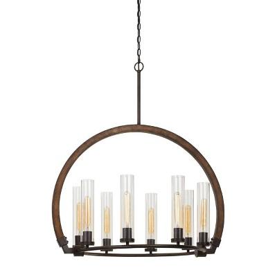 32 x 25 x 37 sulmona wood metal chandelier with glass shade oak iron cal lighting