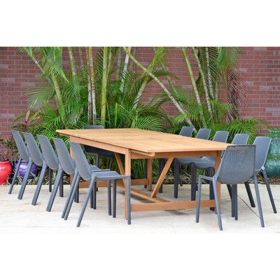 elvis 11pc extendable rectangular teak resin patio dining set gray amazonia