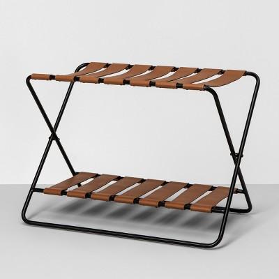 foldable luggage rack black hearth