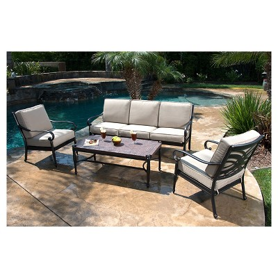 outdoor conversation sets patio furniture Kent 4-Piece Metal Patio Conversation Furniture Set : Target