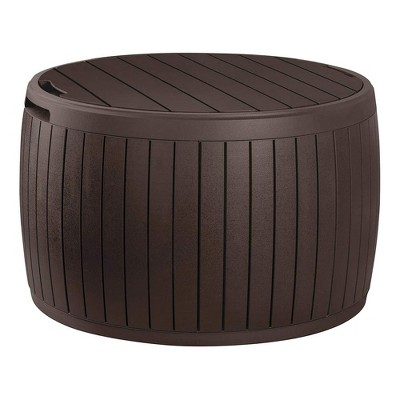 keter circa 3 in 1 patio deck storage box container with resin wood texture for outdoor table or chair pool furniture decor 37 gallon brown