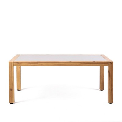 sienna outdoor coffee table with teak finish and concrete top armen living