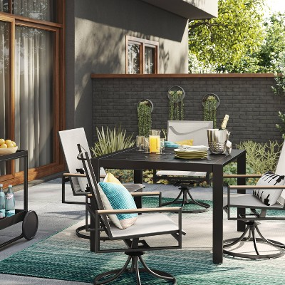 henning patio table set with swivel