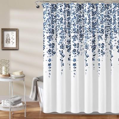 weeping flower shower curtain navy blue lush decor