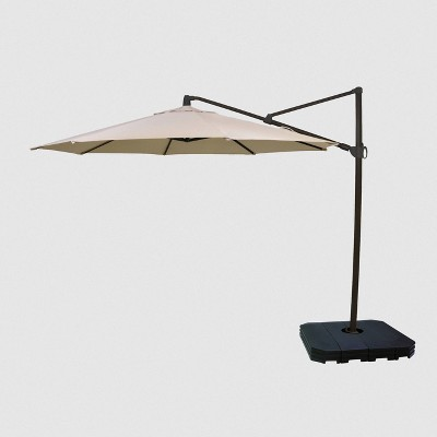 11 offset patio umbrella duraseason fabric tan black pole threshold