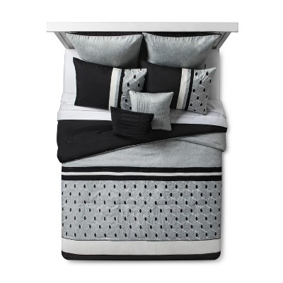 gray black embroidered fairmont comforter set queen 8pc