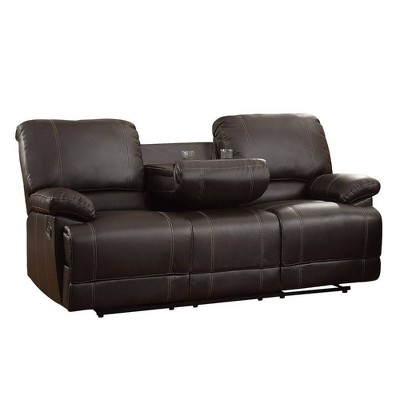 leather double reclining sofa with drop down cup holders brown benzara