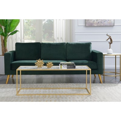 gold coast faux marble rectangle coffee table white faux marble gold frame breighton home
