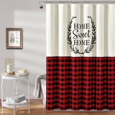 home sweet home wreath shower curtain red lush decor
