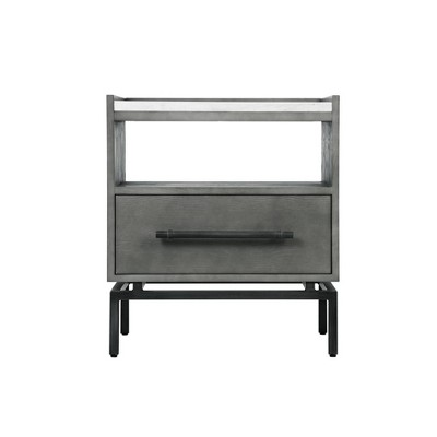 ashton marble top nightstand table gray finch