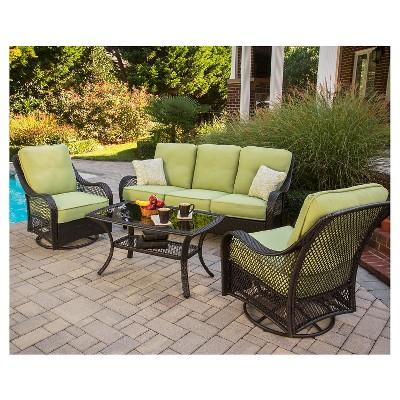 outdoor wicker patio conversation sets Orleans 4-Piece Wicker Patio Conversation Furniture Set